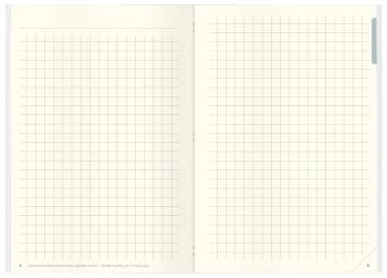 Innenseite: Notizbuch mit karierten und Blanko-Seiten