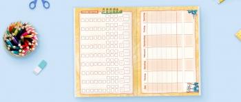 Noten und Stundenplan: Grundschul-Hausaufgabenheft