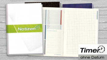Notizbuch mit heraustrennbaren Zetteln, kariert und blanko