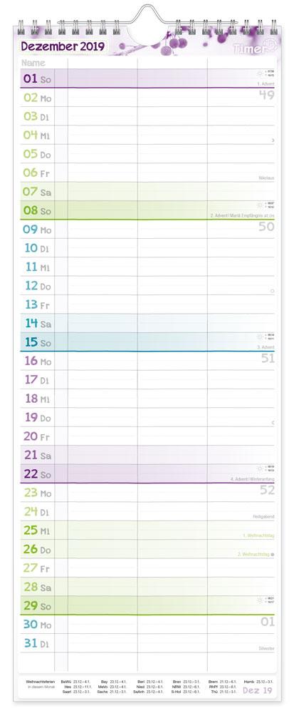 der bersichtliche wandkalender mit 3 spalten feiertagen. Black Bedroom Furniture Sets. Home Design Ideas