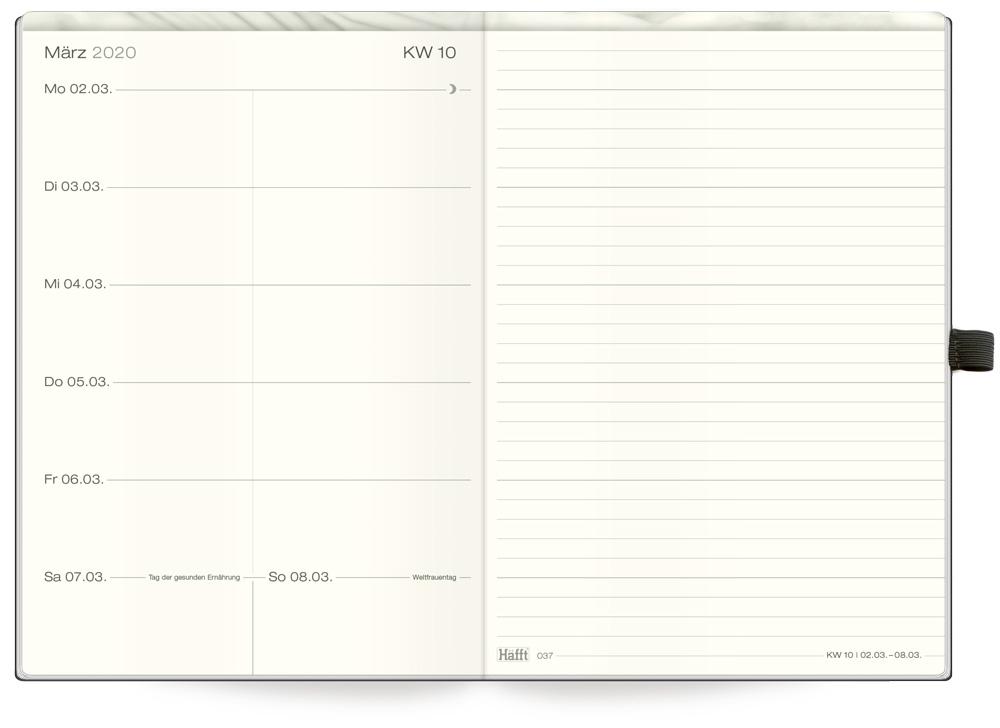 Kalendereinlage Kalender 2019 A5 für Timer Terminer Zeitplaner 1 Woche=2 Seiten