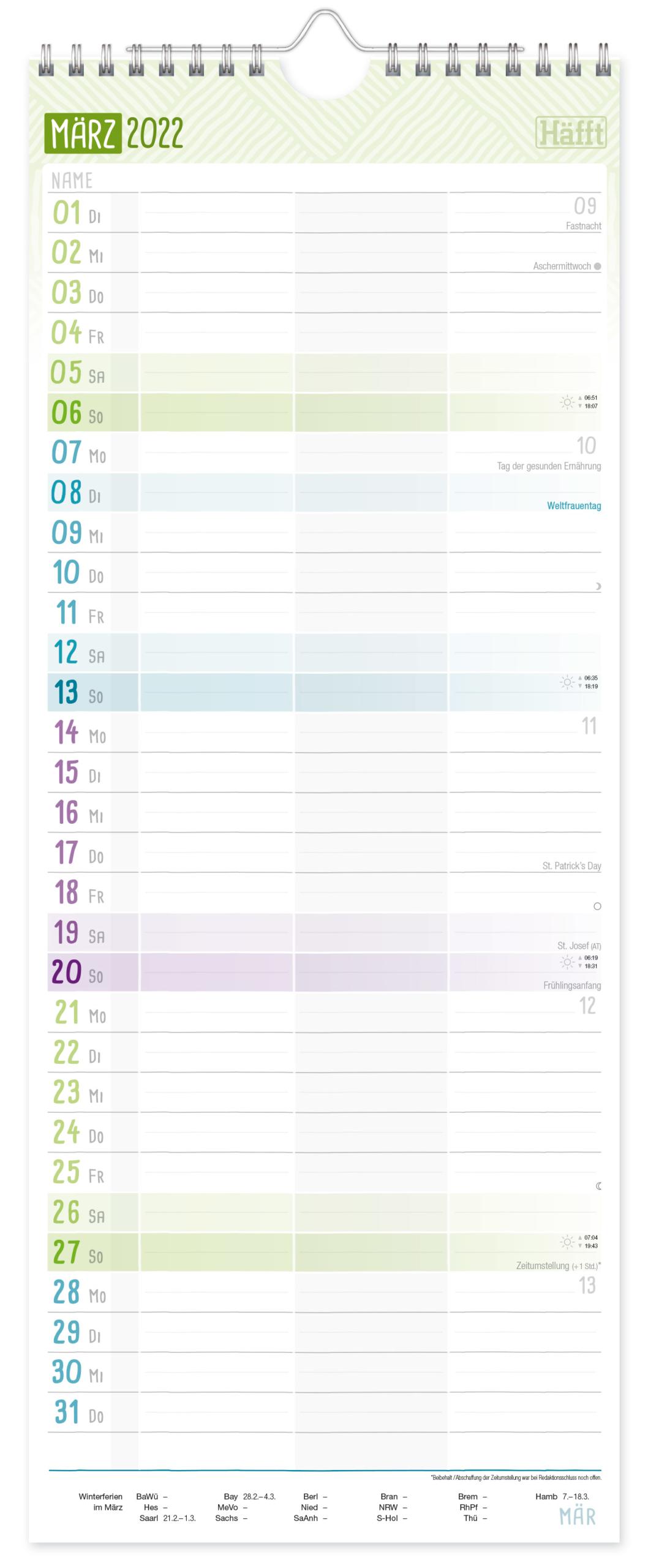 Planer für 2 2021 2022 Wandkalender_Innenseite 1