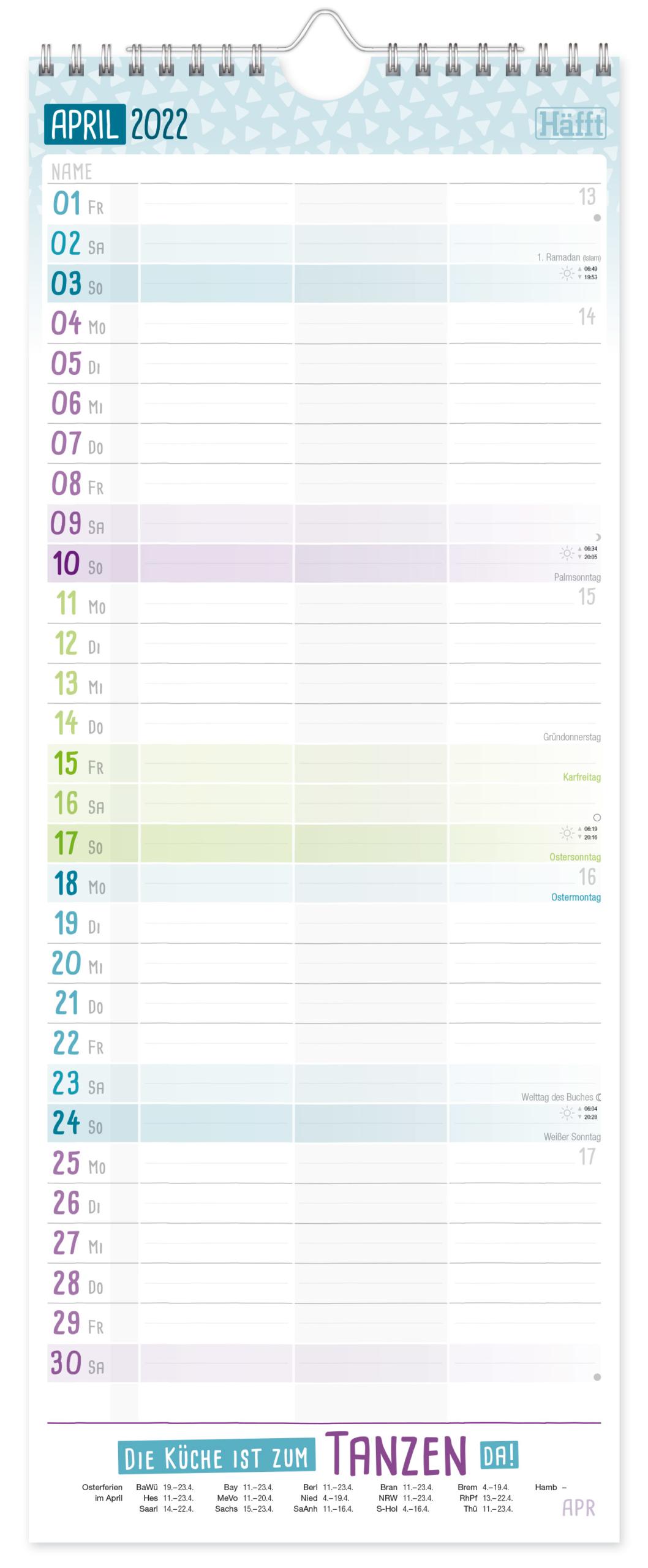 Planer für 2 2021 2022 Wandkalender_Innenseite 2