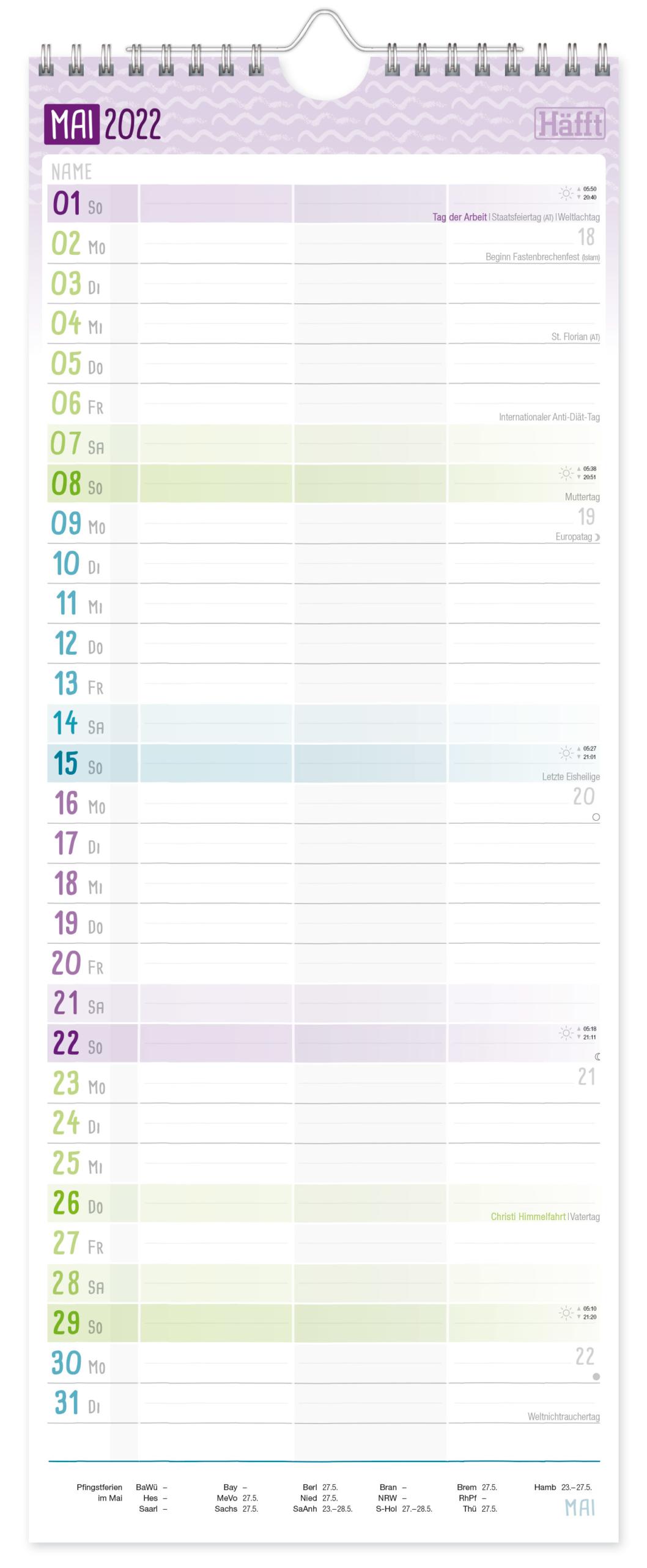 Planer für 2 2021 2022 Wandkalender_Innenseite 3