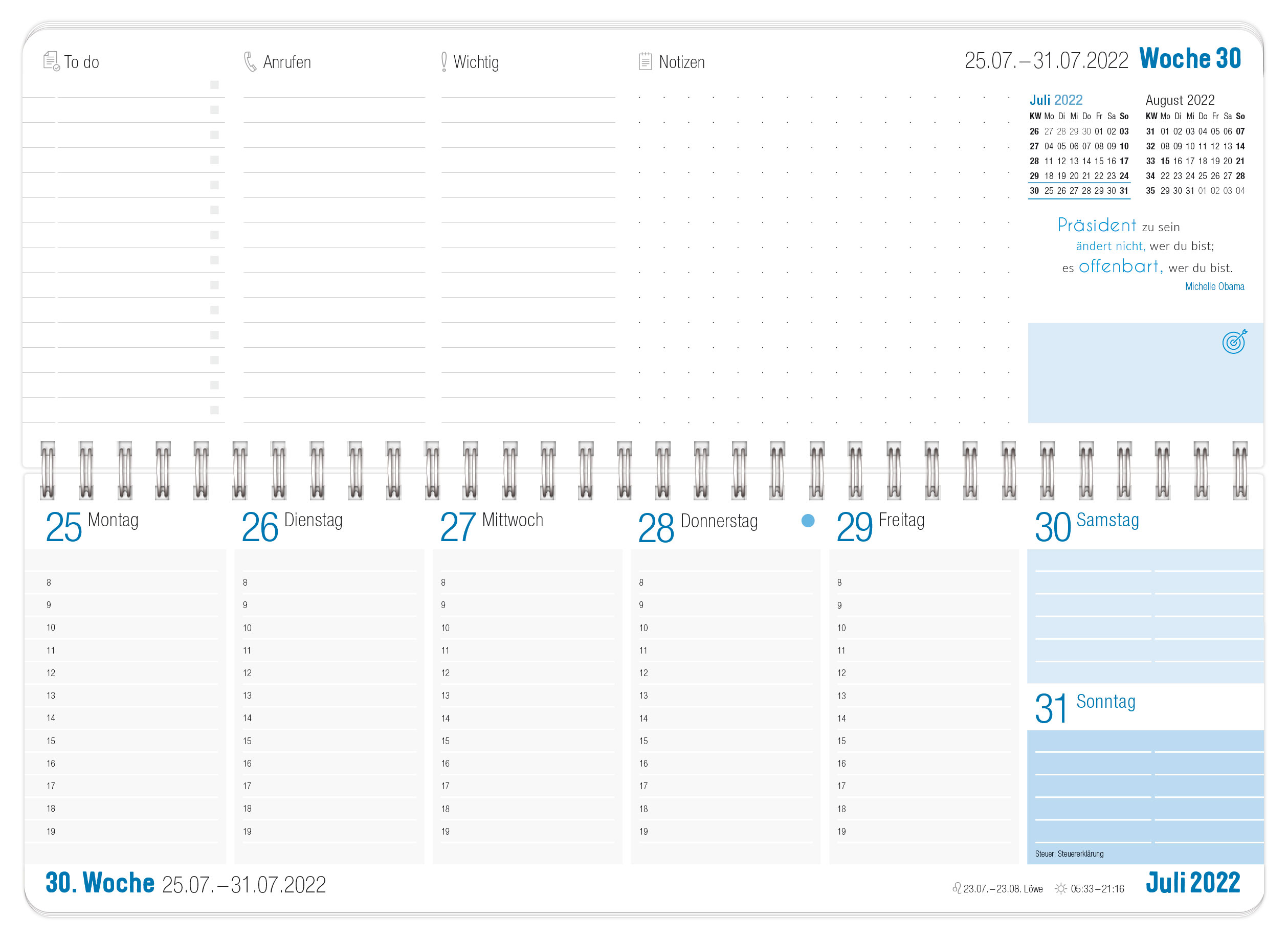 Tischkalender 2022 blau_Innenseite 1