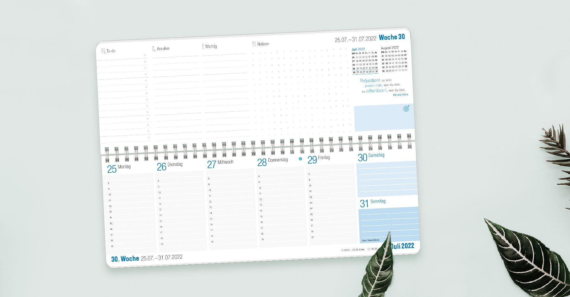 Tischkalender 2022 Blau_Übersicht