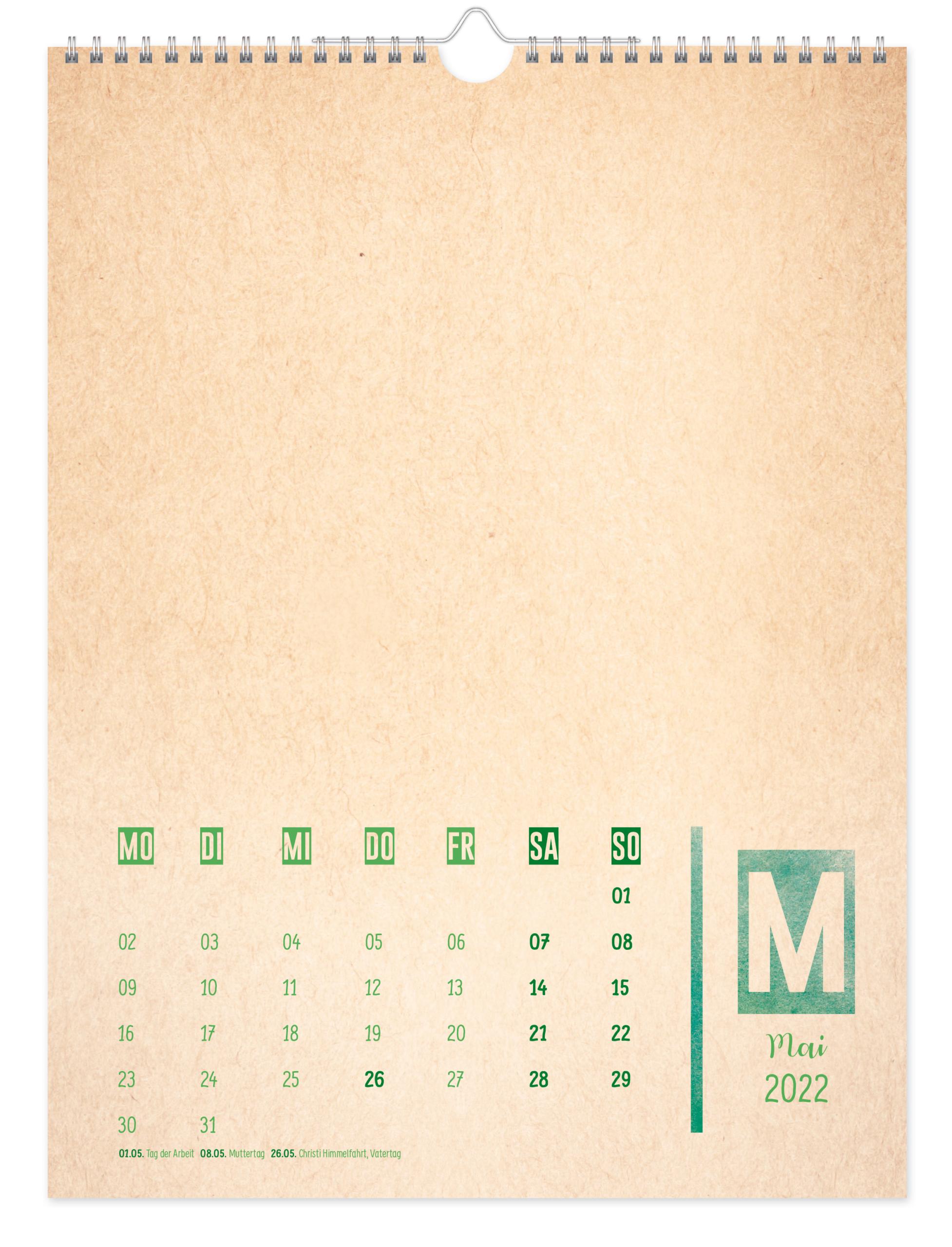 Bastelkalender A4 2022 - Kunterbunt Inhaltsseite 1