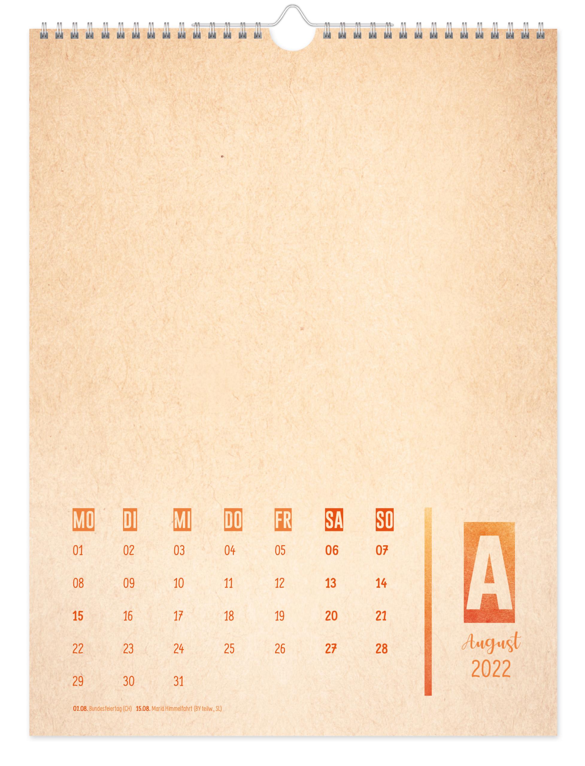 Bastelkalender A4 2022 - Kunterbunt Inhaltsseite 2